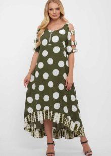 Платье в горошек для полных женщин: летние платья большого размера разных фасонов в крупный и мелкий горох, пышные модели для девушек и другие